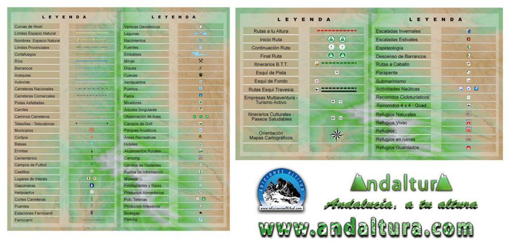 Leyenda Mapas de Senderismo por Andalucía, Leyenda Mapas de BTT por Andalucía