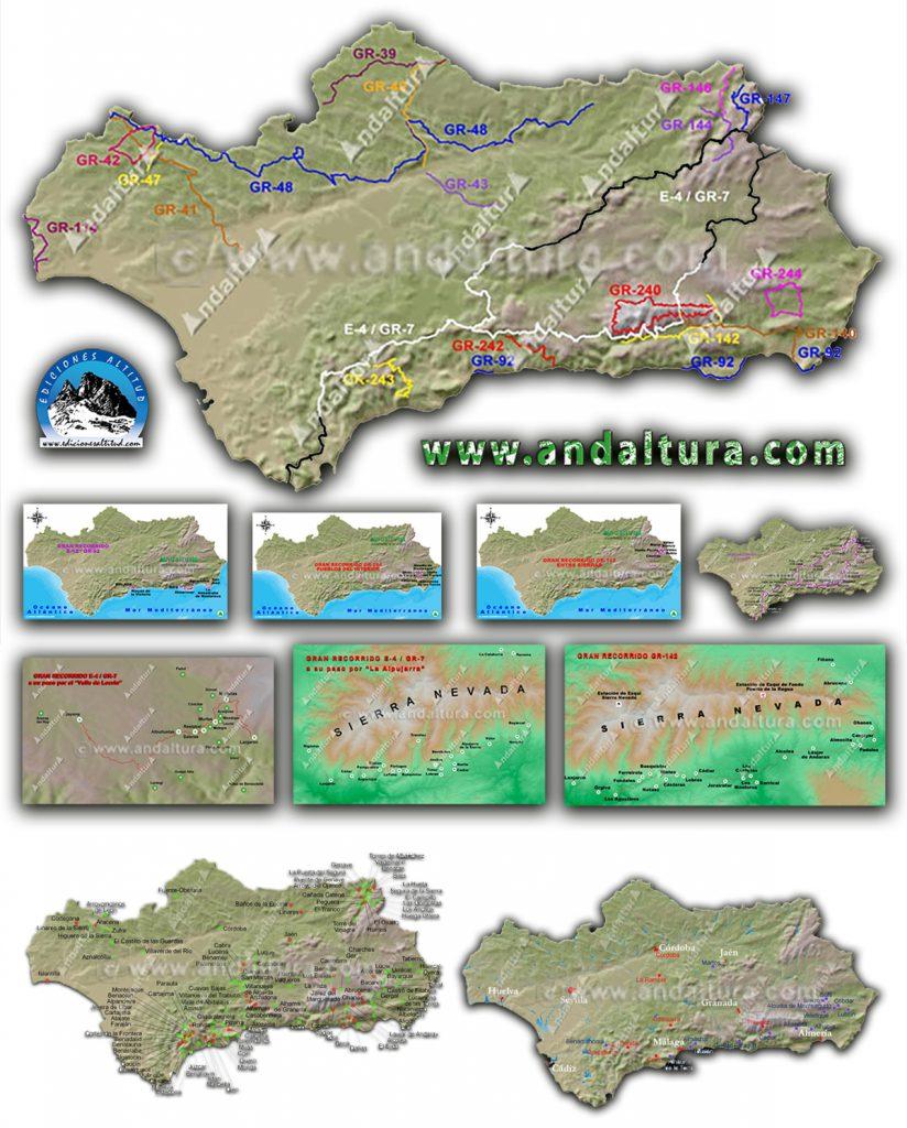 Mapas de GR, PR y SL por Andalucía