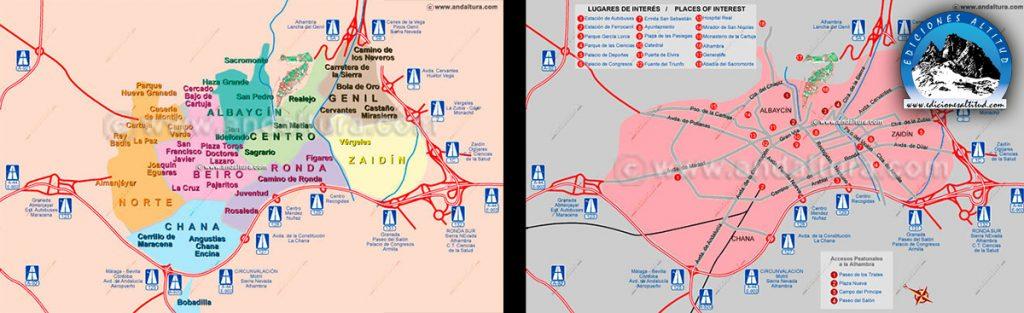 Mapa de Barrios y Mapa de Accesos a Granada