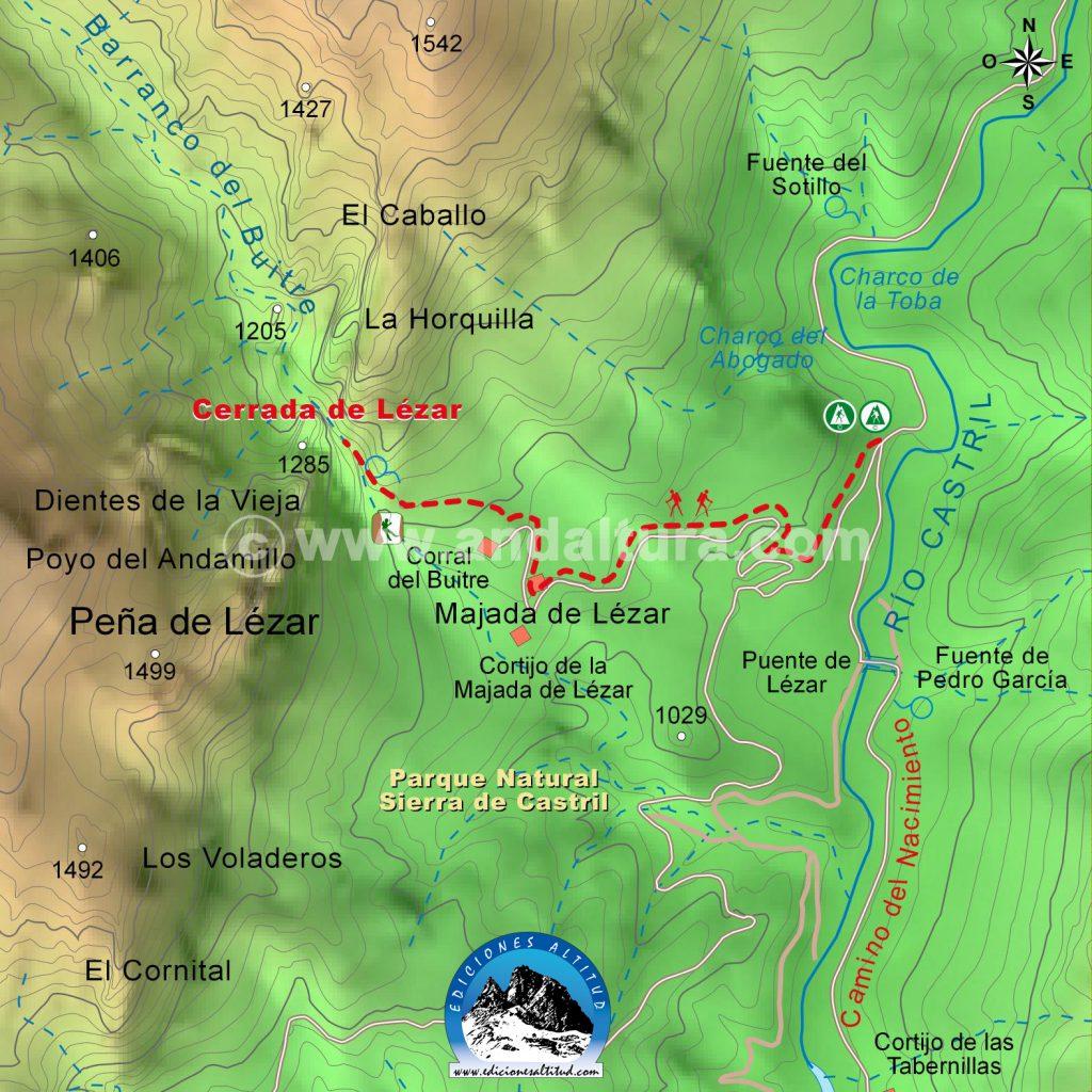 Mapa Cartografico Ruta Cerrada de Lézar - Sierra de Castril - Gratis para imprimir a Alta Calidad