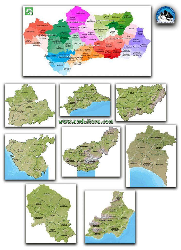 Mapas interactivos de las Comarcas de Andalucía