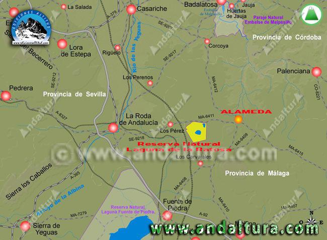 Mapa de Como Llegar a Alameda y sus Lagunas
