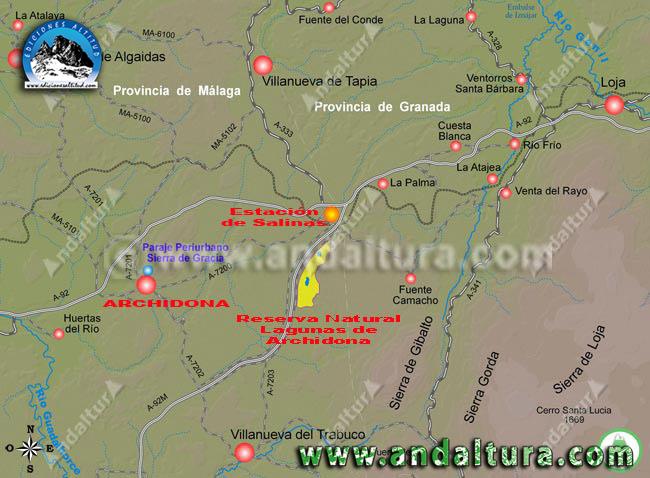Mapa de Como llegar a Archidona y a sus Lagunas