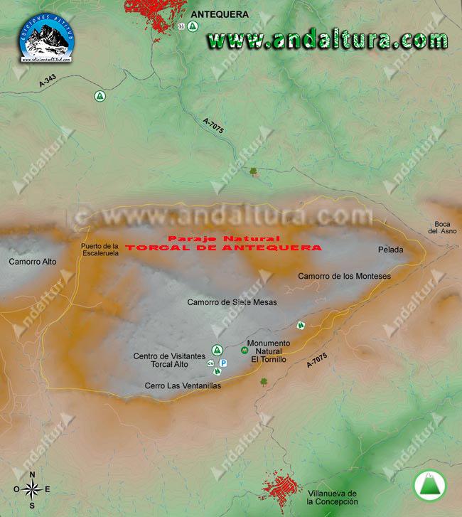Mapa de la Reserva Natural Torcal de Antequera