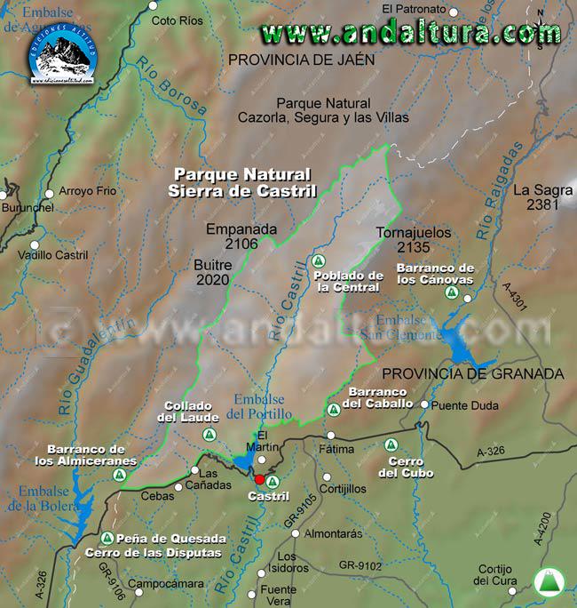 Mapa de inicio de rutas de Senderismo y de BTT por la sierra de Castril