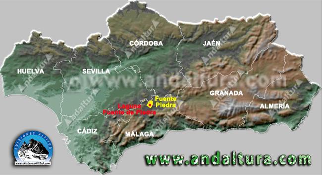 Mapa de Fuente de Piedra y sus Lagunas