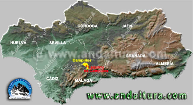 Mapa de la Situación en Andalucía de Campillos y sus lagunas