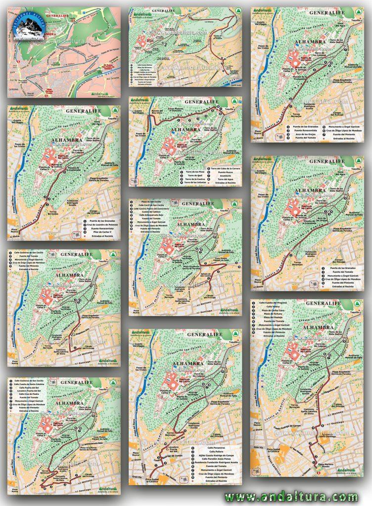 ¿Como subir andando a la Alhambra? Mapas interactivos