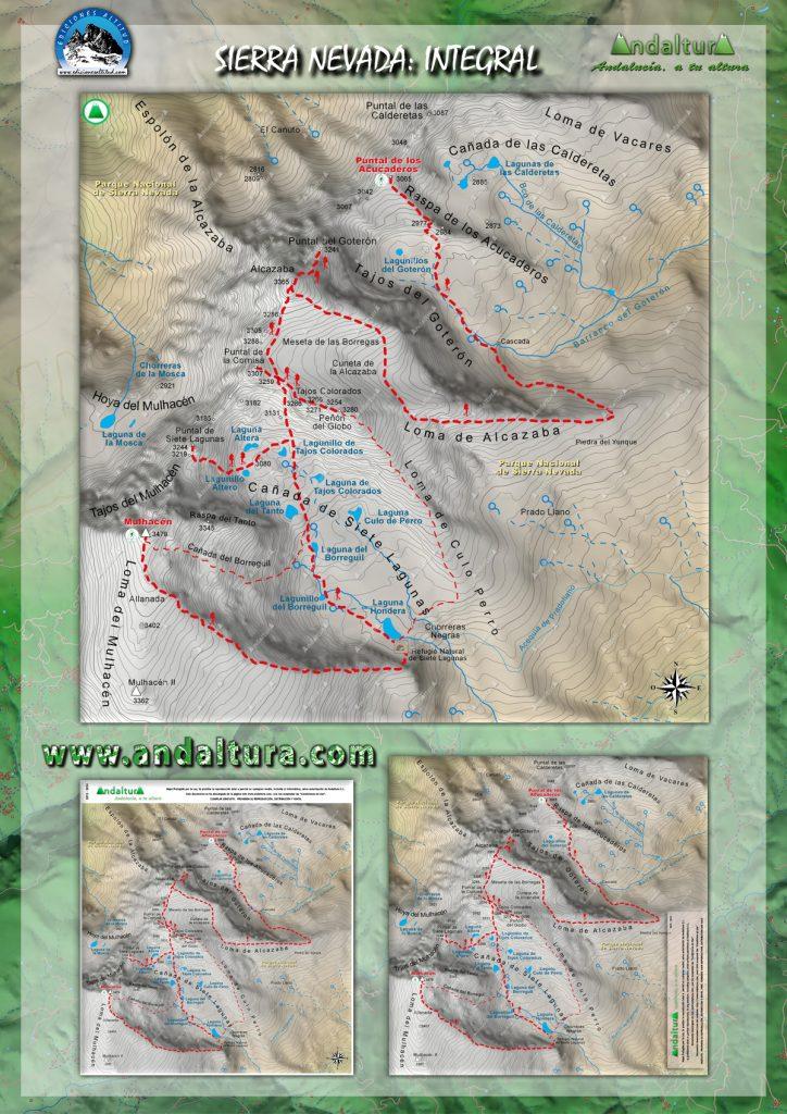 mapas Integral Sierra Nevada, la Integral de los 3000 metros