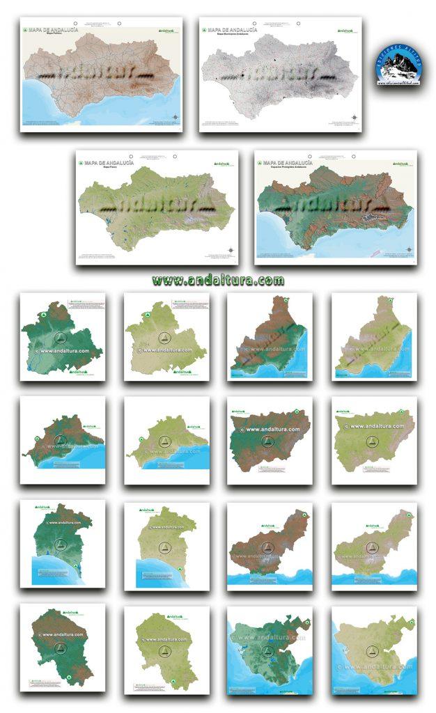 Mapas Mudos de Andalucía y de sus provincias