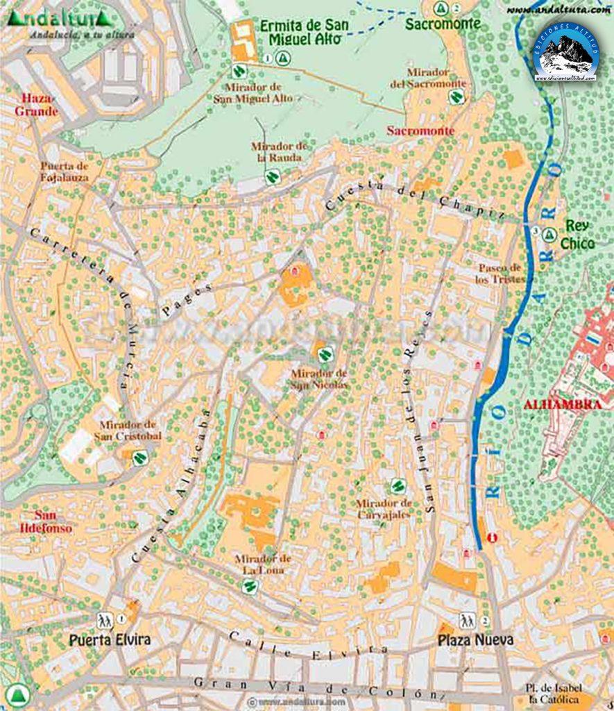 Mapa del Albaycín e inicio de Rutas y Recorridos por el mismo