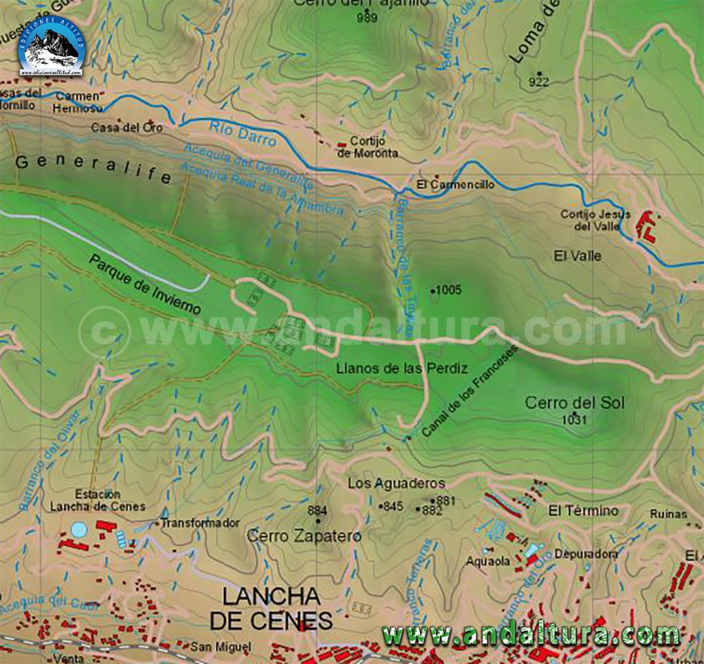 Mapas de Rutas Senderismo y BTT por la Dehesa del Generalife, Rutas Senderismo y BTT por el Llano de la Perdiz