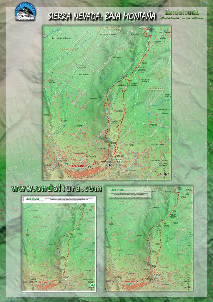 Mapa de una Ruta de Senderismo por la Media y Baja Montaña de Sierra Nevada