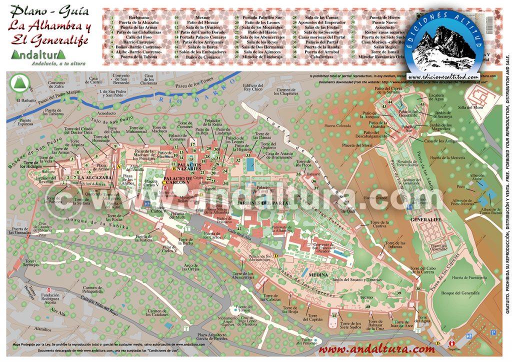 mapa de la Alhambra, guía de la Alhambra