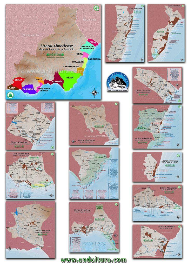 Guía de Playas de Almería, Mapas del litoral de Almería
