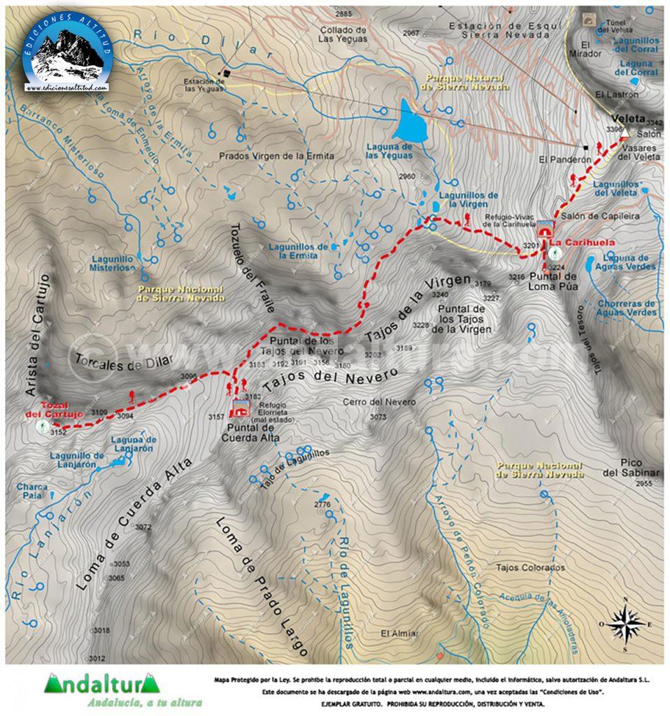 Mapas de los 3000 metros de Sierra Nevada Calibrados para Programas Informáticos