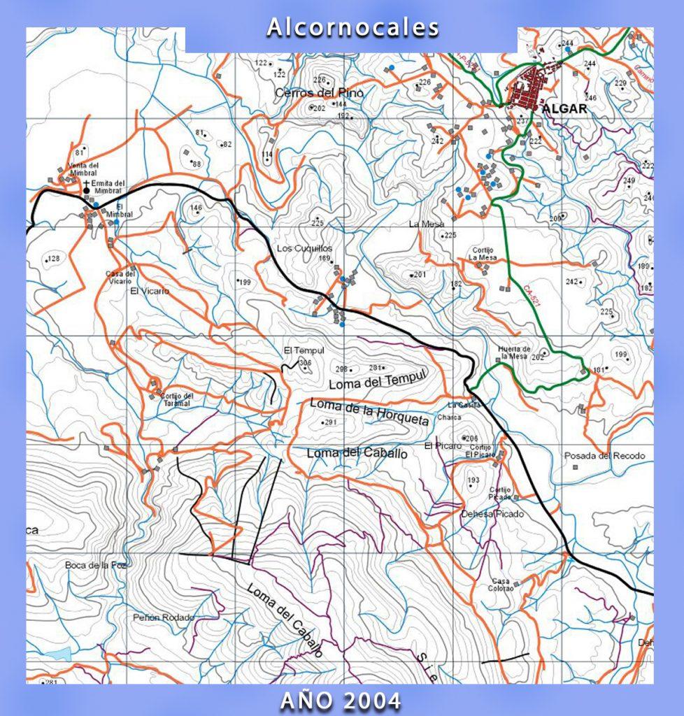 Mapa de la Sierra de los Alcornocales