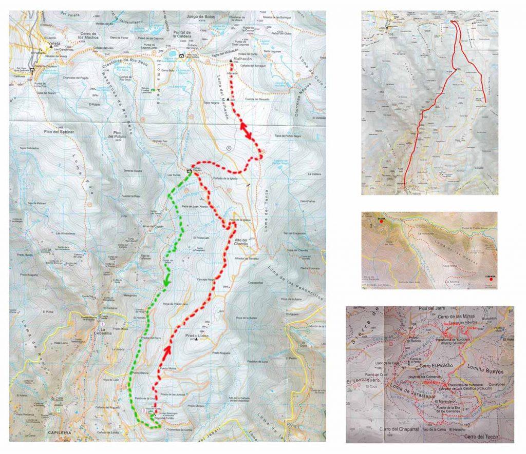 Mapas cartográficos copiados de rutas de senderismo